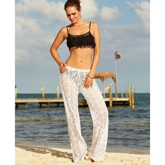 abdcc56b7c908 BECCA Swim | Cute White Lace Pants Coverup | Poshmark